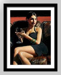 $enCountryForm.capitalKeyWord Australia - Framed Fabian Perez Tess on Leather Couch,Pure Hand Painted Impressionism Portrait Pop Art Oil Painting On Quality Canvas.Multi sizes Fp007