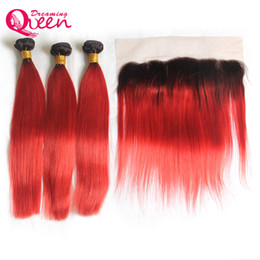 bleach hair dye 2019 - T1B Red Straight Ombre Brazilian Virgin Human Hair Weaves 3 Bundles With 13x4 Ear to Ear Lace Frontal Closure With Baby