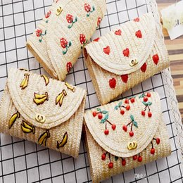 $enCountryForm.capitalKeyWord Canada - Summer Cherry Bananas Straw Messenger Bags Woven Day Clutch Flap Bag Beach Package Women Girl Crossbody Chain Bags