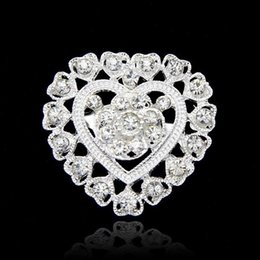Flower Gift For Love Canada - Crystal Love Heart Brooch Flower Full Rhinestone Diamante Brooches Pins Boutonniere Stick Corsage Jewelry for Women Man Wedding Gift