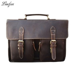 Pocket Pc comPuters online shopping - Men s Crazy horse Leather briefcase Brown quot laptop genuine leather handbag Cow leather business bag Work tote PC shoulder bag