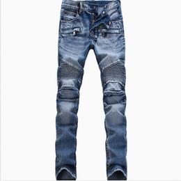9b45b3939de360 Biker Jeans Mann Moto Denim Herren Modemarke Designer Zerrissene Distressed  Jogger Gewaschen Plissee Motorrad Jeans Hosen Schwarz Blau