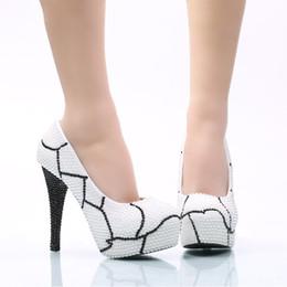 $enCountryForm.capitalKeyWord NZ - Bridesmaid Shoes Plus Size White Pearl with Black Rhinestone Wedding Shoes Women High Heel Platform Shoes Party Prom Pumps