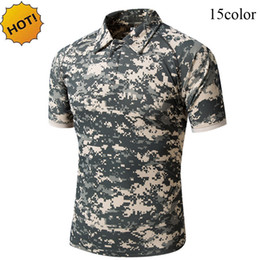 Discount jungle print shirts New 2017 Summer Turn-Down Collar Tactical Commando Cargo Military Camouflage Quick Drying Slim Jungle Crossfit T Shirt Men Tops