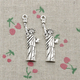 York Necklace Australia - 45pcs Charms statue of liberty new york 49*14mm Antique Silver Bronze Pendant Zinc Alloy Jewelry DIY Hand Made Bracelet Necklace Fitting