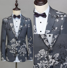Smoking Masculin Pas Cher-Handsome Formal Mens Clothing Printing Livraison gratuite One Piece of Groom's Fall Winter Warm Wedding Tuxedos Custom Made Men Costumes