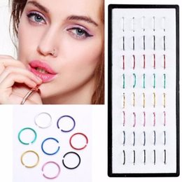Small Nose Rings Studs NZ - 40pcs Stainless Steel Hoop Nose Ring Loop Small Thin Wire 0.8mm Pierced Jewelry Punk Beach Party Women Nose Ring