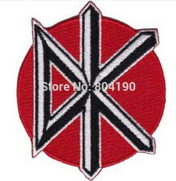 "iron custom logo patches NZ - 3.5"" Dead Kennedys DK Music Rock Band LOGO Embroidered NEW IRON ON and SEW ON Patch Heavy Metal Custom design patch available"