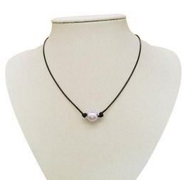artificial necklaces NZ - Wholesale New 1 beads simple leather rope hand artificial pearl necklace A399