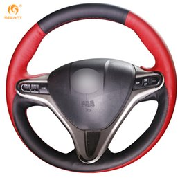 Honda Civic Leather Canada - Mewant Black Red Leather Car Steering Wheel Cover for Honda Civic Old Civic 2006-2011