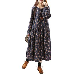 Barato Coreano Meninas Moda Primavera Casual-Women Print Floral Dress 2017 Spring New Coreano Moda Plus Size Mulheres Long Sleeve Casual O-Neck Mori Girl Dress
