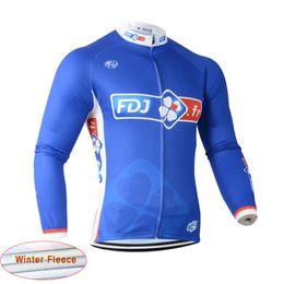 2018 pro team FDJ cycling clothing Tour de France men Cycling Jersey Winter  Thermal Fleece Long sleeves bike clothing mtb bicycle wear C1401 9c176ef93