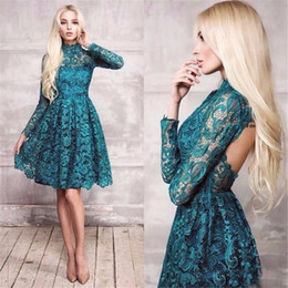 Barato Joelho Vestido Turquesa-2017 High Quality Full Lace A Line Vestidos Cocktail Alto Neck Mangas Longas Turquoise Vestido Knee Length Evening Party Dress Sexy Backless