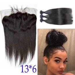 Fast unprocessed human hair online shopping - Unprocessed Brazilian Straight Hair with Closure Bundles Human Hair With Lace Frontal Closure x6 Fast Shipping FDSHINE