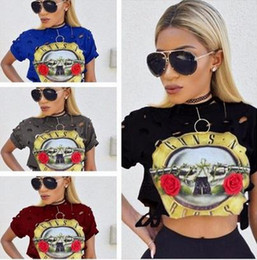 Venda Hot Sexy T-Shirt Mulheres Buraco 2017 New GUNS N ROSES Imprimir Top Curto T Shirt Cropped Tops oco Out manga curta camiseta Femme QA1223