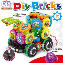 electric music blocks rc car hot selling kid bricks gears building toys educational diy 50 pcs abs plastic unisex over 3 years old