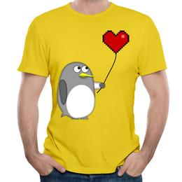 $enCountryForm.capitalKeyWord Canada - 2017 Men's Short-sleeved T-shirts Vigorous Yellow Mens Summer Young Style Tees Shirt Pure Cotton Penguin With A Pixel Heart Balloon