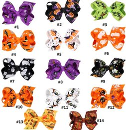 Print Ribbons Canada - multi choice kids baby girl hair barrettes ducklin cliper print devil pumpkin bat ghost bows knot ribbons hairpin Halloween day decoration