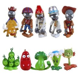 freezing figure NZ - New Arrival Free Shipping 10pcs lot Plants Vs Zombies PVZ Collection PVC Figures Cowboy Toy And Gifts For Children