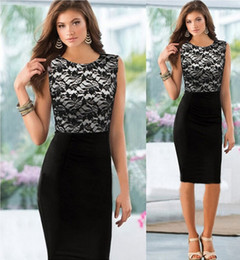 Robe En Dentelle Sans Cravate Pas Cher-2016 New Sexy Women Floral Lace Sleeveless Tight Bodycon Pencil Cocktail Party Slim Dress