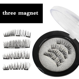 Barato Mistura De Cílios-Mixed Styles Professional 4pcs / box Ultra-thin 0.5mm Black Fake cílios Magnetic Eye Lashes 3D reutilizável falso ímã Cílios OEM