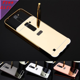 Aluminum Phone Case Wallet NZ - For LG K8   LG Phoenix 2   LG K350N Metal Case Golden Plating Aluminum Frame + Mirror Case Acrylic Back Cover Phone Cases