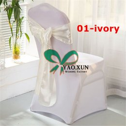 Nylon Chairs Wholesale Canada - White Lycra Spandex Chair Cover With Ivory Satin Chair Sash Best Factory Price
