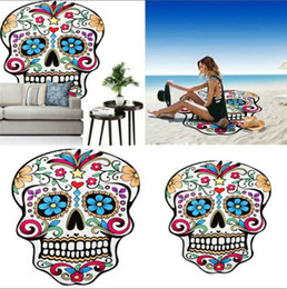 $enCountryForm.capitalKeyWord NZ - Skull Round India Beach Towel Printed Polyester Plain Dyed Woven Summer Yoga Mat Boho Home Decor 150Cm Towels