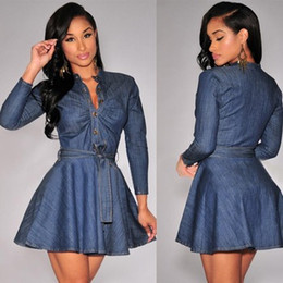 $enCountryForm.capitalKeyWord Canada - Denim Dresses Denim Shirt New Europe And America Waistband Stand-Up Single-Breasted Casual Dresses Fashion Slim Was Thin 00170