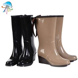 China Wholesale-Long-Barreled Zipper Type Women's Mid Calf Wedge Rain Boots Ladies Comfortbale and Soft Wlking Pink Polka Dot Rainboots 2016 supplier rain wedges suppliers