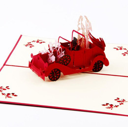marriage wedding car NZ - 3D Pop Up Greeting Cards Wedding Car Valentine Anniversary Invitation Marriage good quality DHL free ship