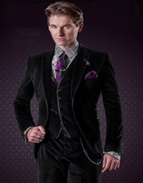 9006 9005 Câblage Pas Cher-Vente en gros - Best Sellers Groom Tuxedos Groomsman Costumes de mariage Black Velvet Tuxedo With Satin Trims And Mounted Vest (Jacket + Pants + Vest)