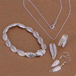 Discount sterling feather pendant - Fashion Jewelry Set 925 Sterling Silver Plated Golden Feather Pendant Necklace Earrings Bracelet Ring For Women Party Gi