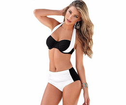 Barato Biquini Halter Cintura Alta-2017 New Sexy Bikinis Women Swimsuit High Waisted Bathing Tits Swim Halter Push Up Bikini Set Plus Size Swimwear 2XL