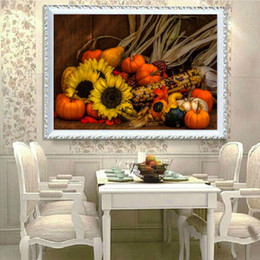 Pattern Decor Australia - DIY Diamond Paintings Sunflower Pumpkin Vegetables Decor Picture Pattern Cross Stitch Diamond Paintings Embroidery Cross Home Decoration