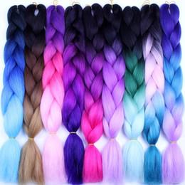 "crochet braids 2018 - Pure Color High Temperature Fiber Braiding Synthetic Crochet Jumbo Braids 24"" 100g Rainbow Ombre Tone Color Braidin"