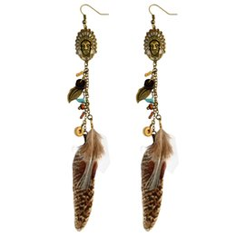 Chinese  idealway Enamel Indian Bohemian Antique Bronze Natural Turquoise Stone Metal Leaf Feather Tassel Fishhook Earrings manufacturers