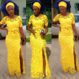 Wholesale black lace dres resale online – Nigerian Yellow Dres Plus Size Sheer Short Sleeve Blue lace Applique Prom Dresses Mermaid Sheer Neck Long Evening Presses