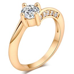 yellow gold engagement ring designs 2019 - Simple Design Engagement Ring Women Wedding Ring with 18K Yellow Gold Plated Shiny Clear AAA CZ Crystal Ring HR-226 disc