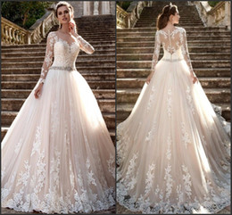milla nova wedding dresses 2020 - Modest Long Sleeve Milla Nova 2019 Wedding Dresses Sheer Jewel Neck Vintage Lace Robe De Mariage with beads Crystal Belt
