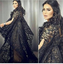 Robe De Soirée Designer Dubai Pas Cher-Nouveau designer 2017 Plus Size Mère de mariée Robes de soirée V Neck Full Black Lace Court Train Dubaï Femmes africaines Formal Prom Gowns