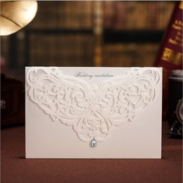 Diseño Elegante De Las Invitaciones De La Boda Baratos-Venta al por mayor-Decoraciones de la boda Wishmade China Laser Cut Invitaciones de boda de lujo Elegante diseños White Wedding Invitation Cards 2016