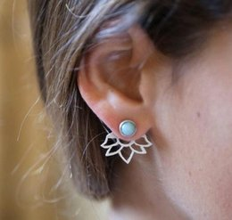 $enCountryForm.capitalKeyWord Canada - Womens Ear Jackets Blue Turquoise Hollow Lotus Silver Gold Plated Polish Ear Jackets For Girls Ladies