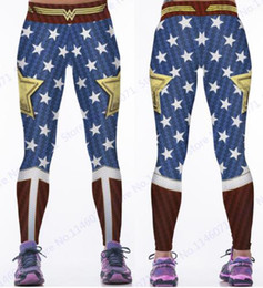 Red blue puRple yoga pants online shopping - Wonder Woman Yoga Compression Pants Red Fitness Leggings Elastic Waist Sports Tights Women Blue Butter Lift Polyester Trousers