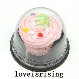 Großhandel 50 stücke = 25 sets Durchsichtigen Kunststoff Cupcake Kuchen Dome Favor Boxen Container Hochzeit Party Decor Geschenkboxen hochzeitstorte boxen Liefert
