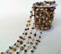 Crystal Chips Canada - Natural Colorful Mookaite Stone Crystal Chips Jewelry Finding Necklace Chains,Gold Color DIY necklace bangle jewelry making LZ20