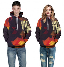 Geometric Hoodie Canada - Hoodies men casual Long sleeve Sweatshirt 3 d red mirror printed fleece Cap bag set of head with male Hooded men's fleece