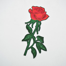 sew flowers UK - 10pcs 9'' Fashion Embroidered Red Rose Flower Patch iron on Applique Sew Dress DIY