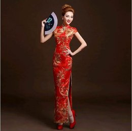 Robe De Mariée Couleur Rétro Pas Cher-4 couleurs Fashion Red Lace Mariée Mariage Qipao Long Cheongsam Robe traditionnelle chinoise Slim Retro Qi Pao Femme Antique Robes