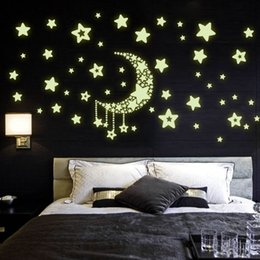 $enCountryForm.capitalKeyWord Canada - Y0015 Moon Star Fluorescence Decals Noctilucent Night Glow in Dark Luminous Vinyl Removable Nursery Kids Child Bedroom Wall Stickers
